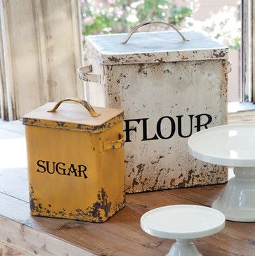 Bakers Bins (Set Of Two) Traditional Food Containers And Storage. Flour  CanisterSugar CanisterKitchen IdeasFarm ...