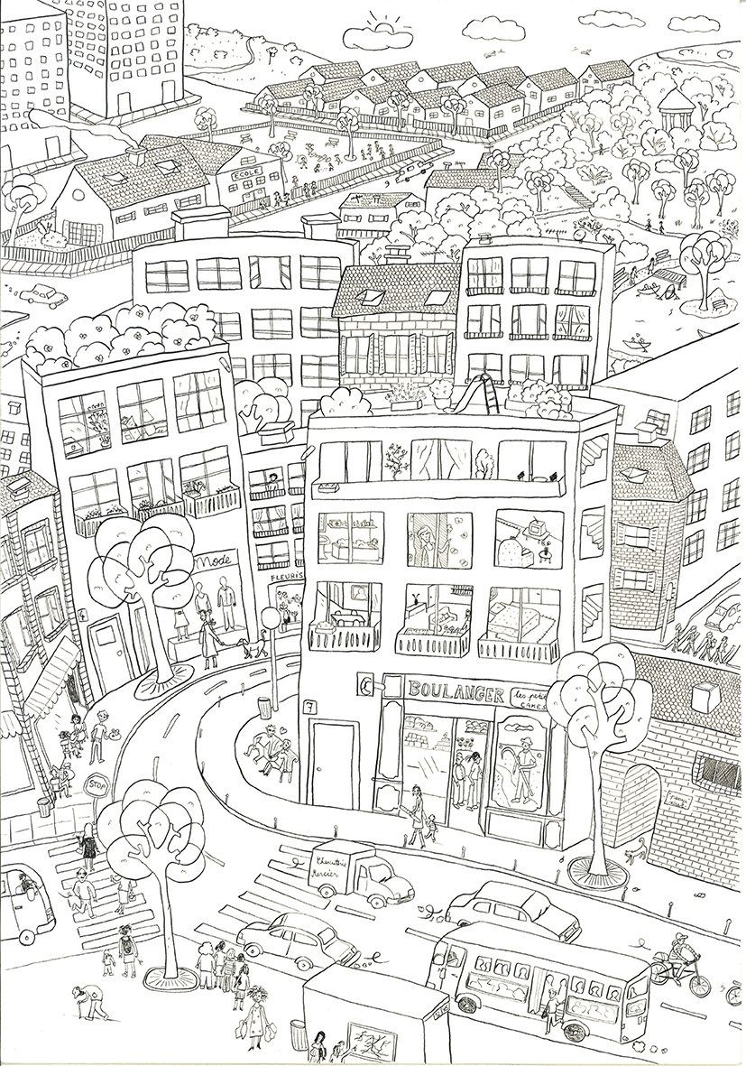 City Coloring Pages High Resolution