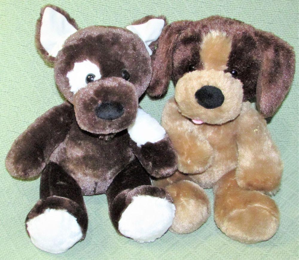 Build A Bear Puppy Dog Set Brown White Spot Tan Sitting Plush