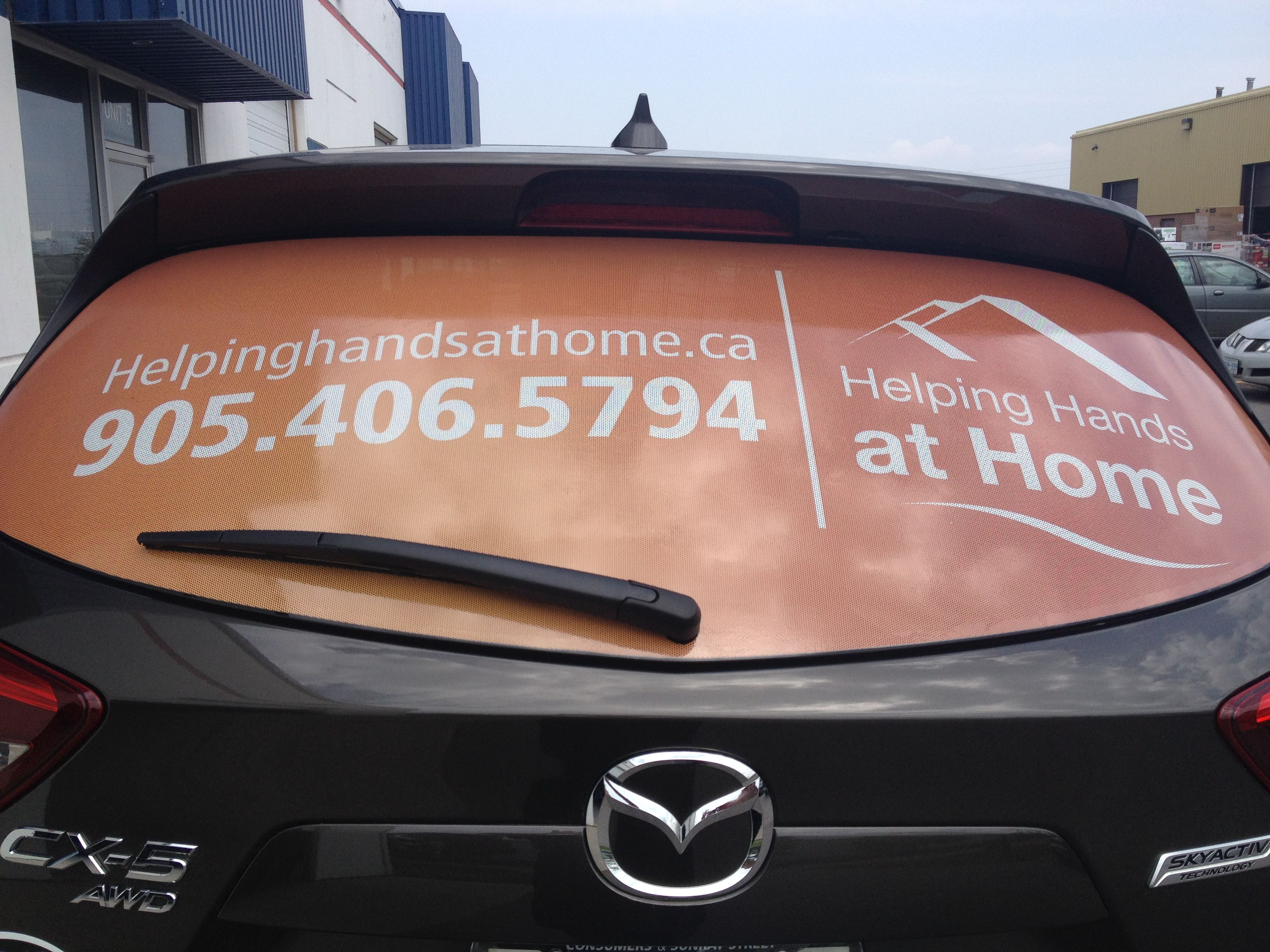 Digital Print Perforated Vinyl Rear Window Graphics For Helping Hands At Home Vehiclegraphics Www Speedprodurham Window Graphics Car Graphics Digital Prints [ 2448 x 3264 Pixel ]