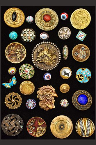 Antique Buttons - Antique & Vintage Sewing Finds, Patterns, Fabric, Projects www.rubylane.com @rubylanecom