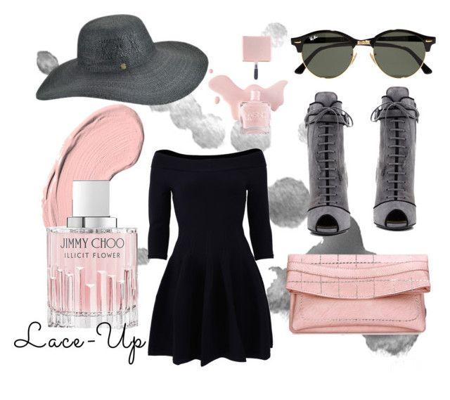 """Lace-Up Pink"" by emmawaskom ❤ liked on Polyvore featuring Prada, Jonathan Simkhai, Karen Kane, Ray-Ban, NYX and Jimmy Choo"