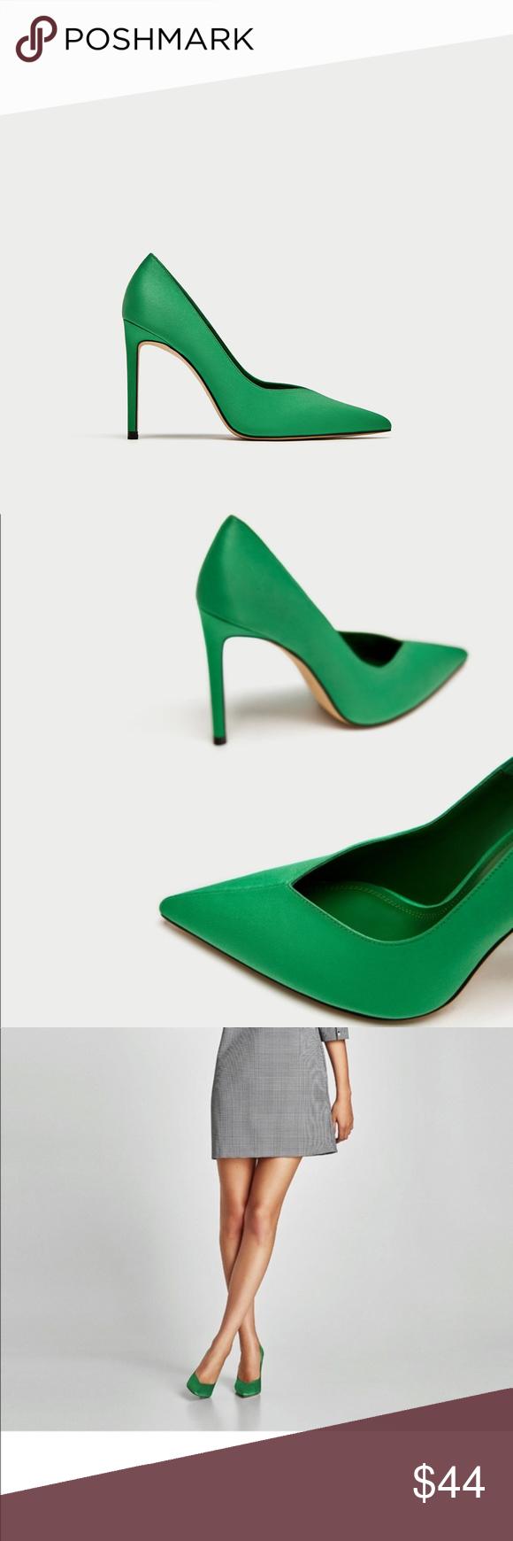 Zara Green V Vamp High Heel Shoes New With A Tag Green V Vamp High Heel Court Shoes From Zara Size 37 And 36 Run Half Size Smal Shoes Green High Heels Heels