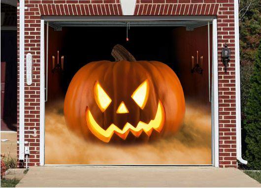 3D EFFECT GARAGE DOOR BILLBOARD COVER EVIL PUMPKIN HALLOWEEN 9,02 x - halloween garage ideas