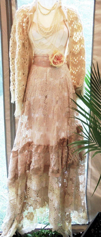 Crochet lace  dress wedding tea stained beige nude   romantic