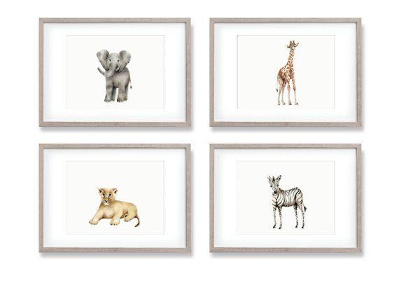 Safari Wall Decor safari nursery art, elephant, giraffe, zebra ,prints, gender