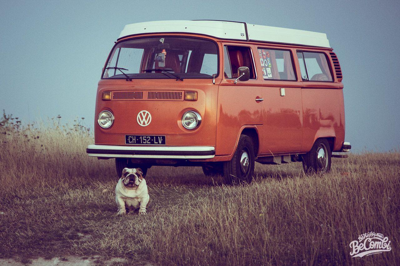 Volkswagen Séance photo en Combi avec Helmut le Bulldog | BeCombi