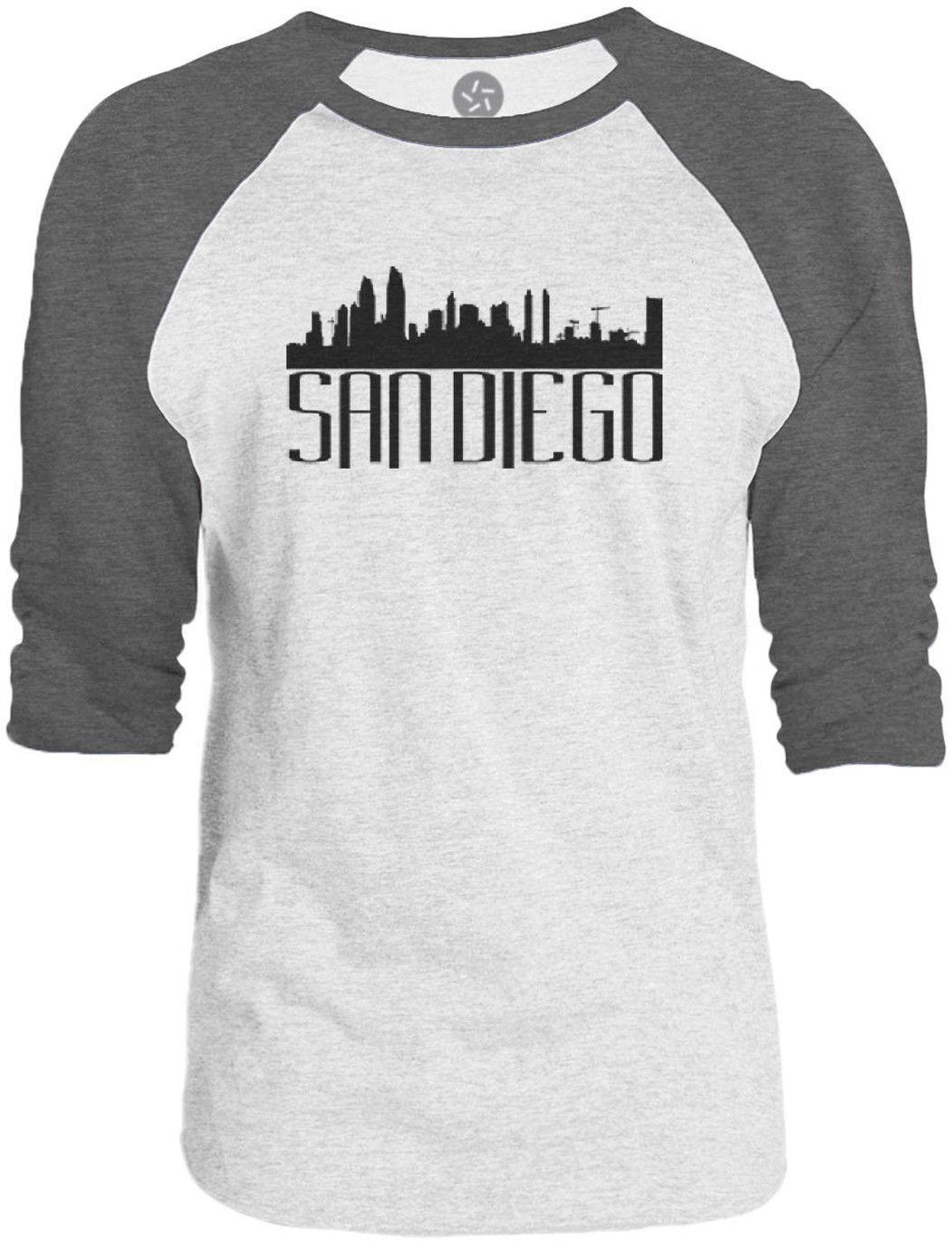 Big Texas San Diego Skyline (Black) 3/4-Sleeve Raglan Baseball T-Shirt