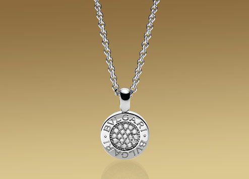 bvlgari bvlgari pendant with chain in 18kt white gold with pav diamonds