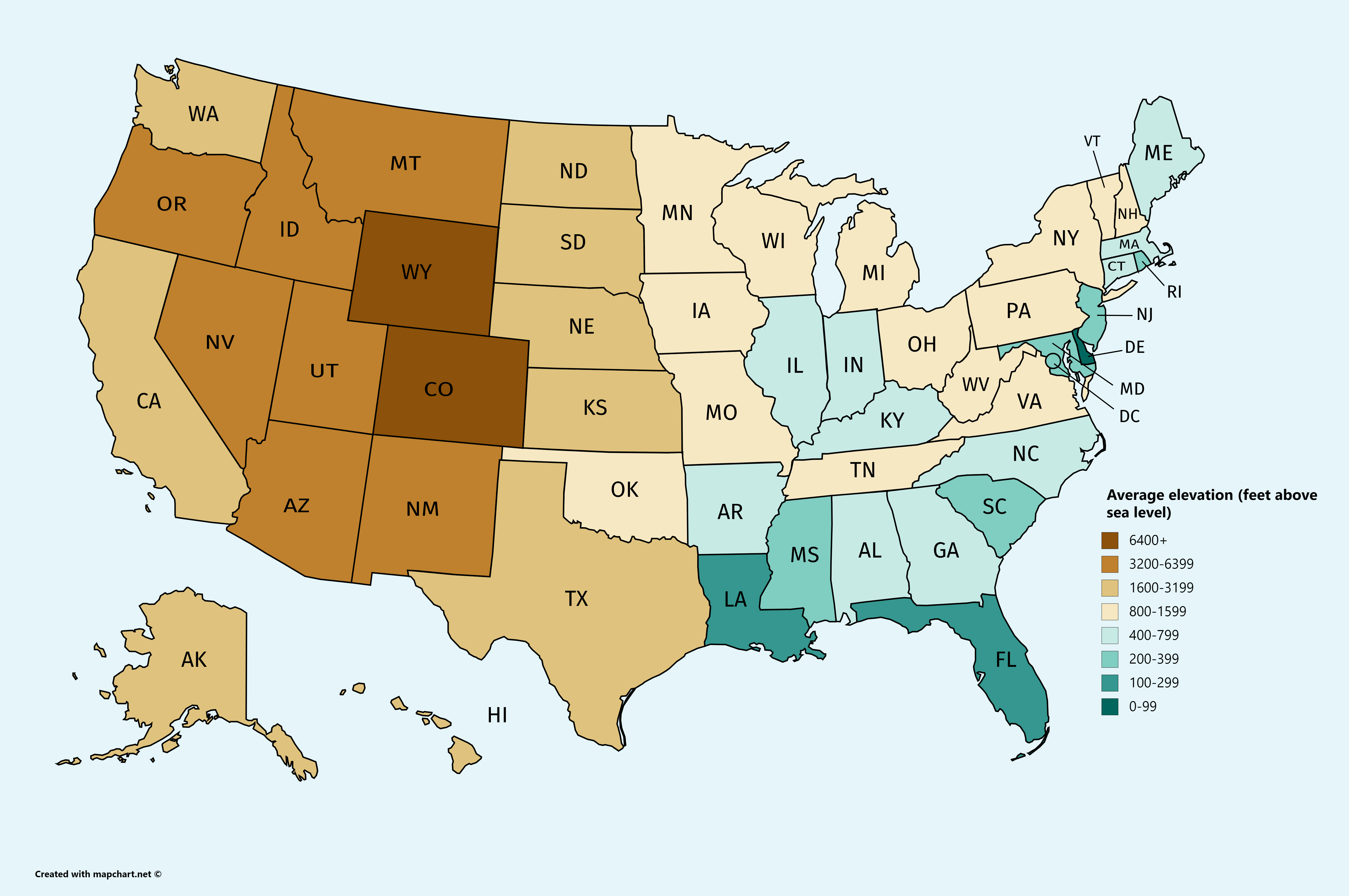 U.S. states average mean elevation Usa travel map, Map