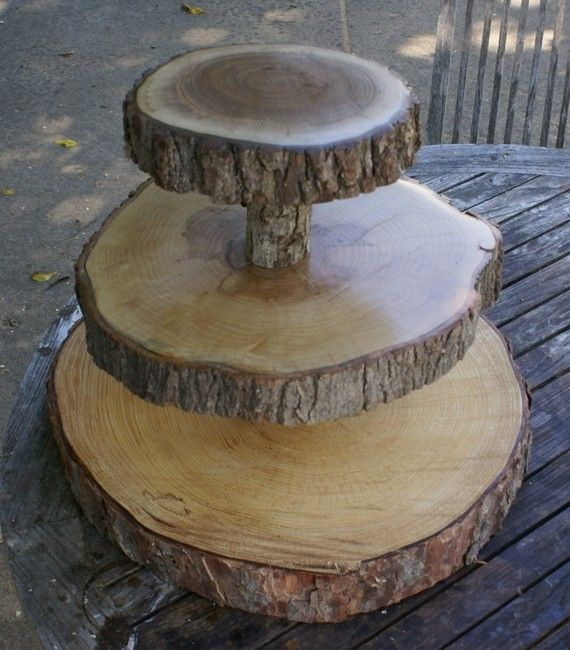 Etsy's 3 Tier Tree Slice Cupcake Stand...would Be So Cute