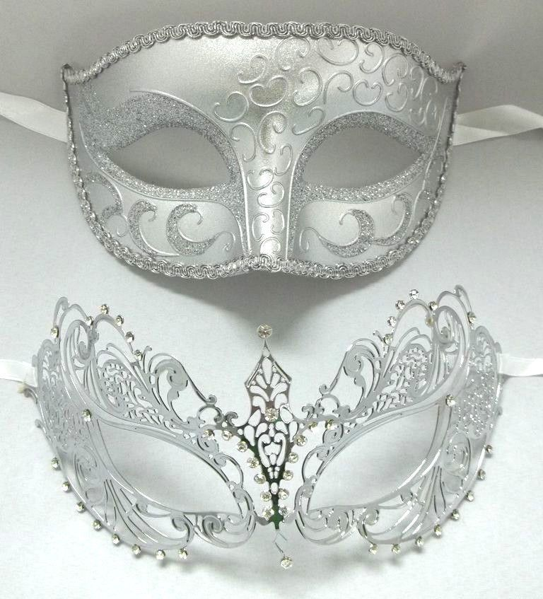 Black and Silver with Flower White Trim NEW Venetian Masquerade Party Mask