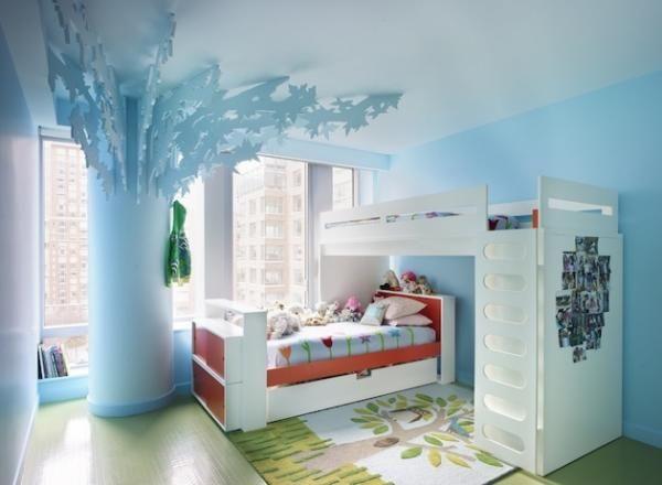 kinderzimmer ideen gestaltung säule baum hochbetten | Mädchenzimmer ...