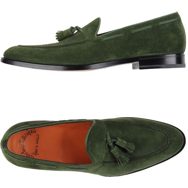 Santoni Moccasins featuring polyvore men s fashion men s shoes men s loafers green mens tassel shoes mens green