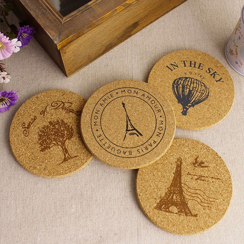 New 4pcs Cork Wood Drink Coaster Tea Coffee Cup Mat Pads Table Decor Tableware Unbranded Home