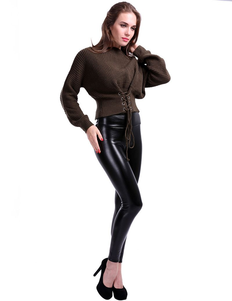 8d54324f60 CHRLEISURE S-5XL Women Plus Size Winter Leather Pants Warm Velvet Pant High  Waist Trousers Women Thick Stretch Pantalon Femme