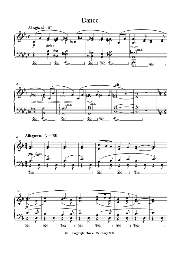 Dance, from Ten Short Easy Piano Pieces for Solo instrument