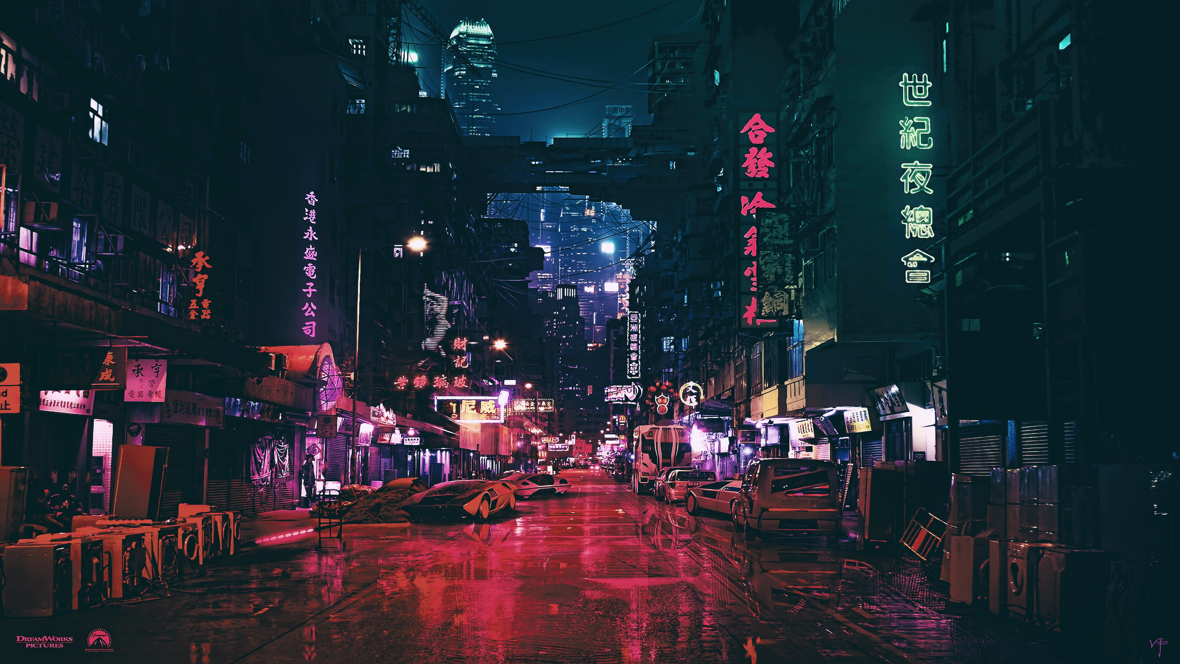 Black Signages City Roads With Lightings And Cars Night Artwork Futuristic City Cyberpunk Cyber Science Fict City Wallpaper Futuristic City Cyberpunk City