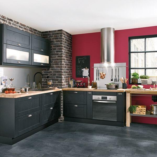 Tendance n°4  la cuisine noire et bois 33 m² Pinterest - Conforama Meuble De Cuisine