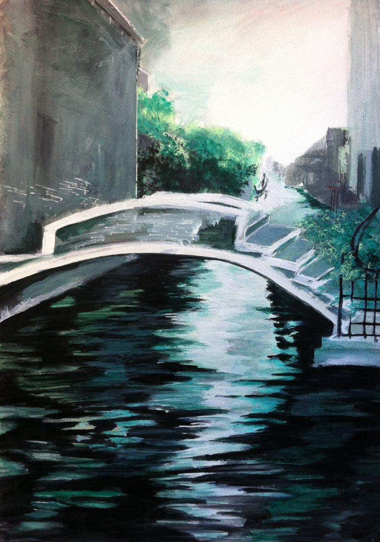 Peinture paysage venise lumeline bll pont de l 39 esp rance for Paysage peinture
