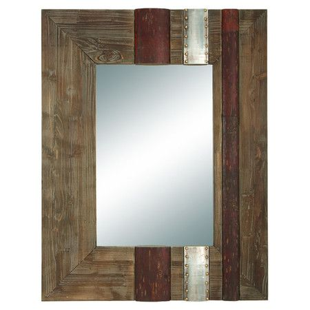 Hang this wood-framed wall mirror in your kitchen for a cozy touch ...