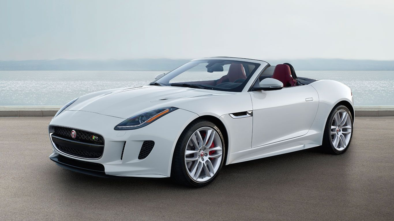 F TYPE R Convertible, Glacier White With Optional Red Leather Interior Pack