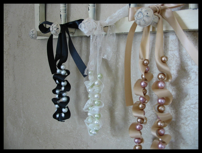 Romantic Ribbon & Pearl Necklace Tutorial, by Cherrry Bubbins -- If you guys want you can do a necklace instead of a bracelet!