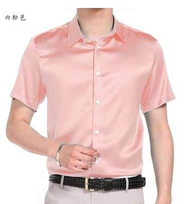 6fd5fb80dfc The new 2018 summer pure color silk shirts with short sleeves high-end cultivate  one s