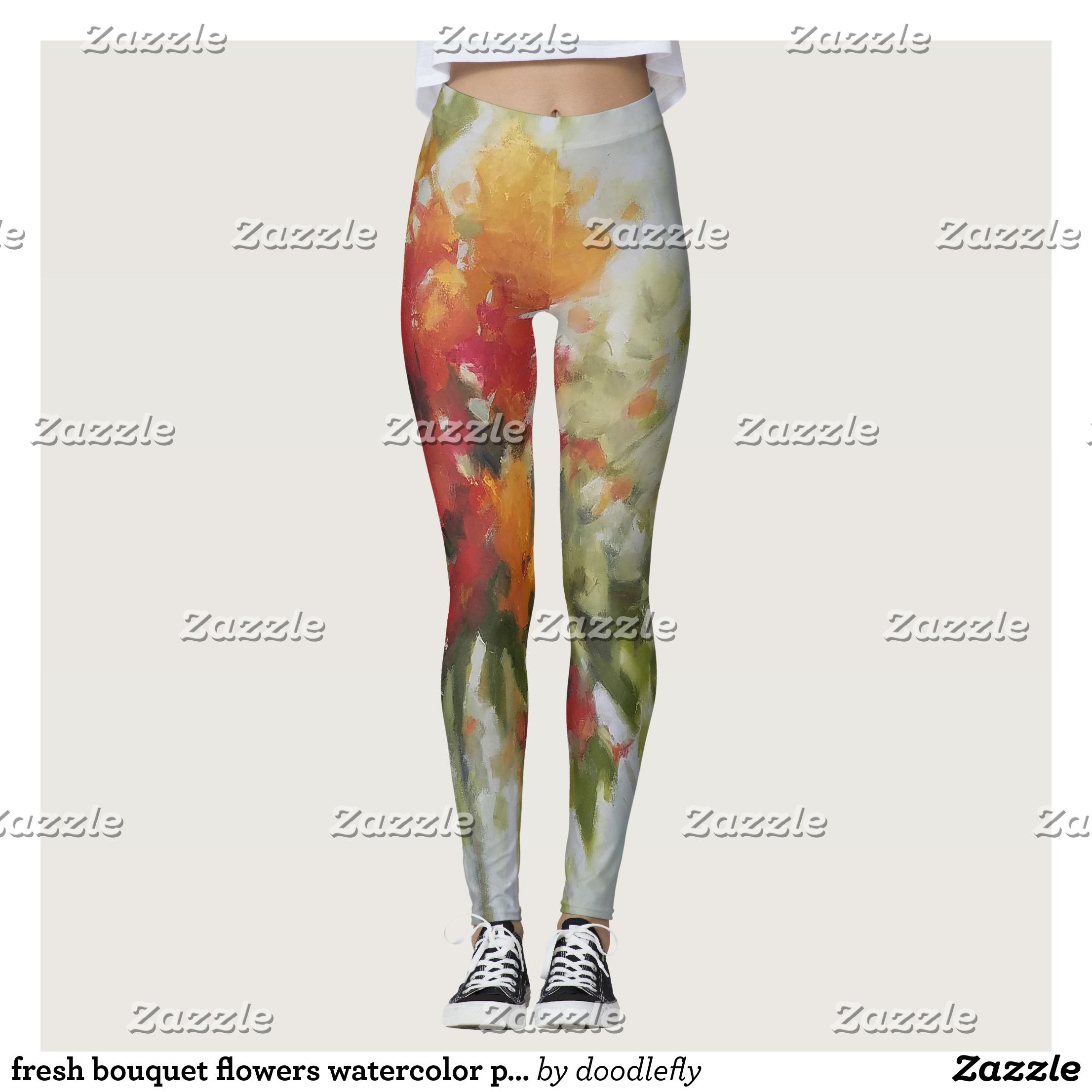 Fresh Bouquet Flowers Watercolor Painting Leggings Running Tights