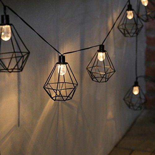 Guirlande Lumineuse Solaire 10 Lanternes Fil de Métal Noir Style Industriel à LED sur Câble Noir 2,80 Mètres (Pile Rechargeable incluse) Waterproof