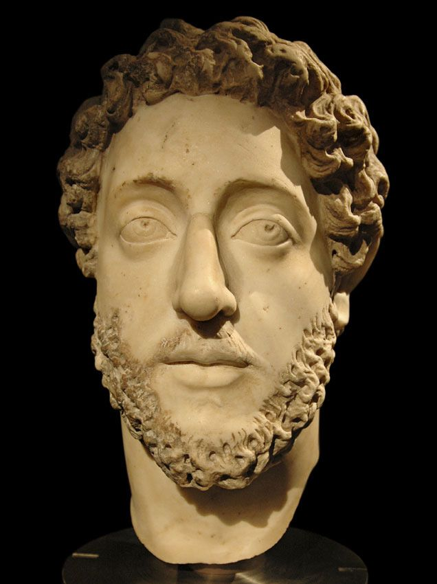 Emperor Commodus, head of Roman statue (marble), 2nd century AD, (Kunsthistorisches Museum, Vienna).