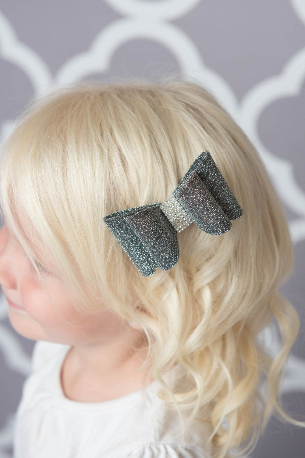 silver hair bow | girls hair clips, silver hair and silver glitter