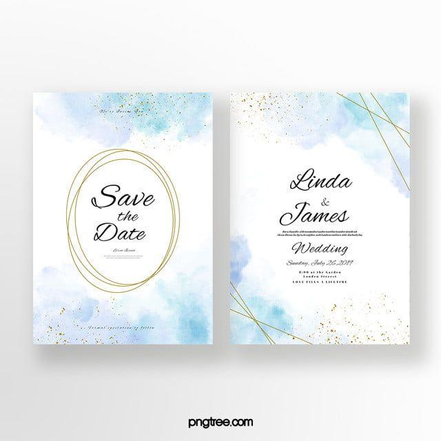 Blue Double Sided Wedding Invitation Blue Wedding Invitations Watercolor Wedding Invitations Wedding Invitation Card Template