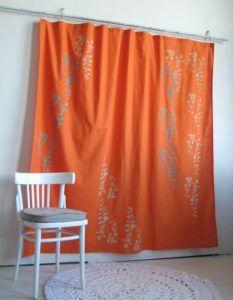 Etonnant Solid Burnt Orange Shower Curtain