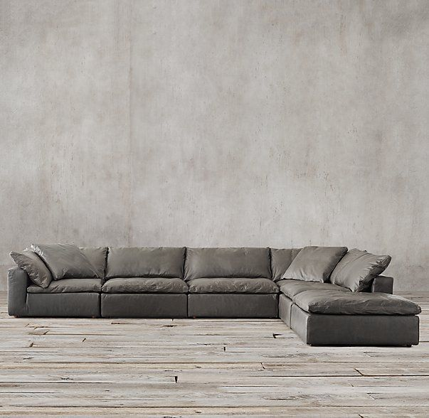 Preconfigured Cloud Cube Modular Leather L-Sectional | For the Home ...