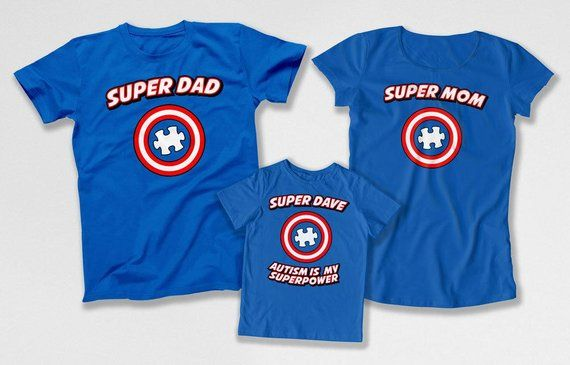 Autism Mom Shirt Matching Family Outfits Autism Dad T Shirt Superhero Gifts For Kids Month Autism Family Shirts Autism Pride DN-4(22-29-36) #superherogifts