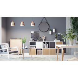 Photo of Wohnwand Weiß – Individuelle Designer-Regalwand: Türen in Buche – Hochwertige Materialien – 195 x 80