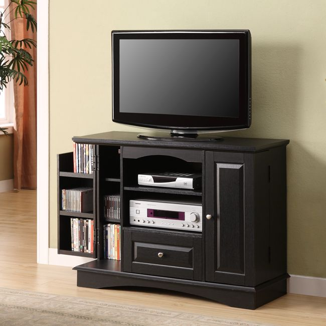 Black Tall Tv Stand With Side Storage Tv Stands Pinterest Tall