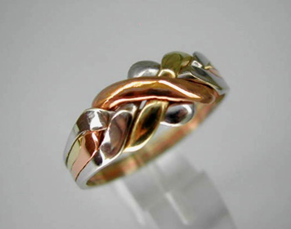 TriColor Gold 14k Solid 4 Band Turkish Puzzle Ring SHIP FREE