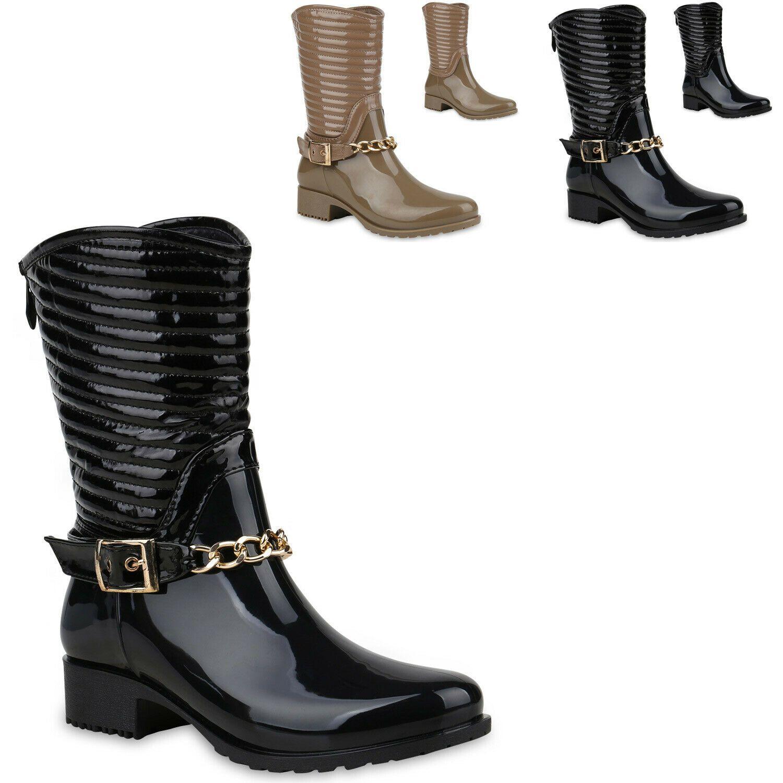 894302 Damen Gummistiefel Stiefeletten Schuhe Stiefel Ketten Mode