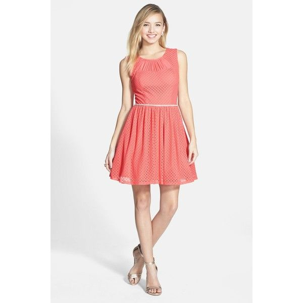 WAY-IN Textured Skater Dress (Juniors) ($30) ❤ liked on Polyvore featuring dresses, coral, sparkly dresses, rhinestone dress, dressy dresses, zipper back dress and see through dress