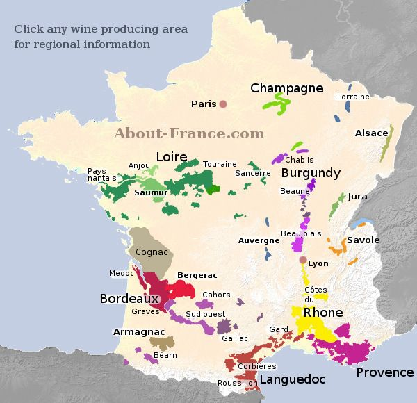 Map Of France Areas.Map Of French Vineyards Wine Growing Areas Of France