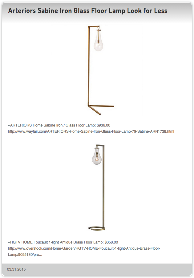 ARTERIORS Home Sabine Iron / Glass Floor Lamp $936.00 vs HGTV HOME Foucault 1-light Antique Brass Floor Lamp $358.00