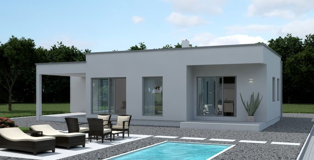 Maison contemporaine plain pied recherche google - Maison contemporaine solar solutions design ...