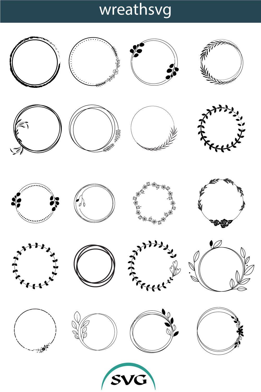 Circle Frame Svg Circle Frame Bundle Svg Circle Wreath Silhouette Circle Wreath Clipart Circle Frames Circle Monogram Etsy