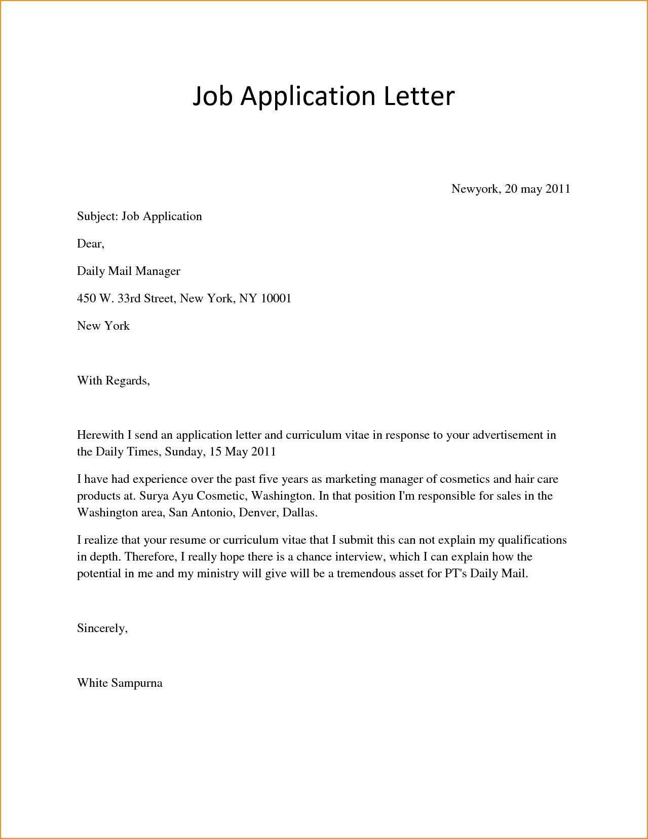 Image Result For Applying For Job Application Format Simple Job Application Letter Simple Application Letter Application Letter For Employment