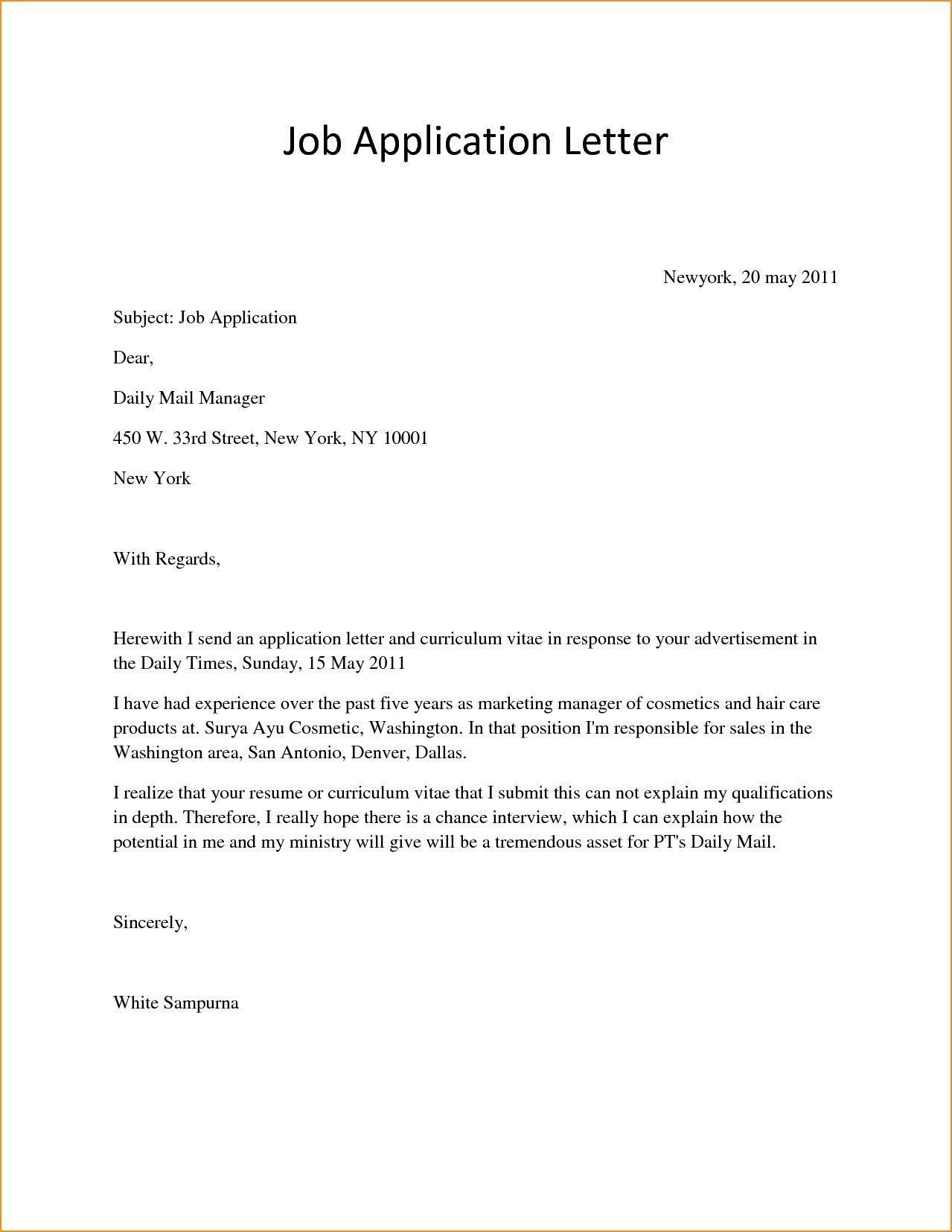 Image Result For Applying For Job Application Format Simple Job Application Letter Simple Application Letter Job Application Cover Letter