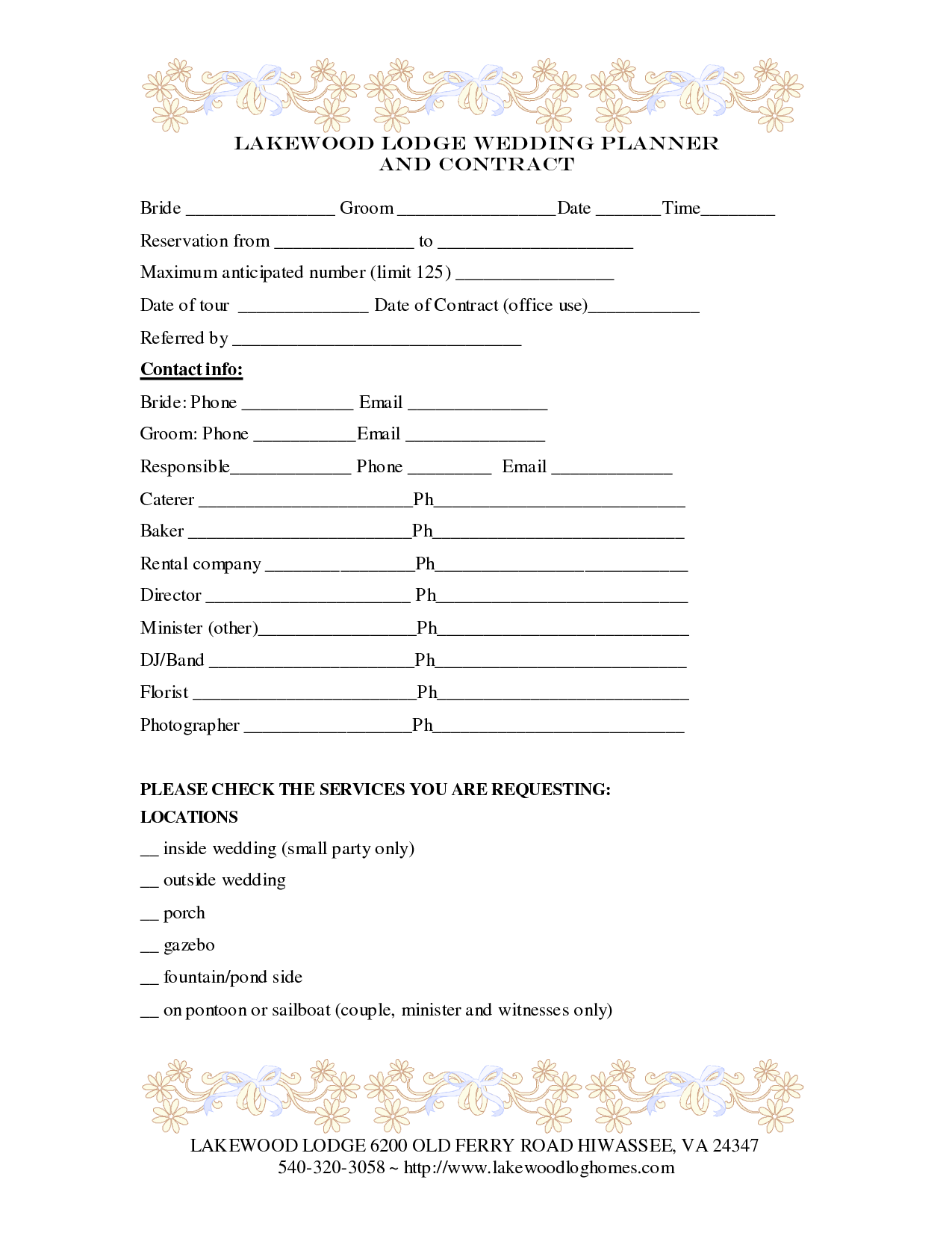 Wedding Planner Contract Template  Weddings Decorations