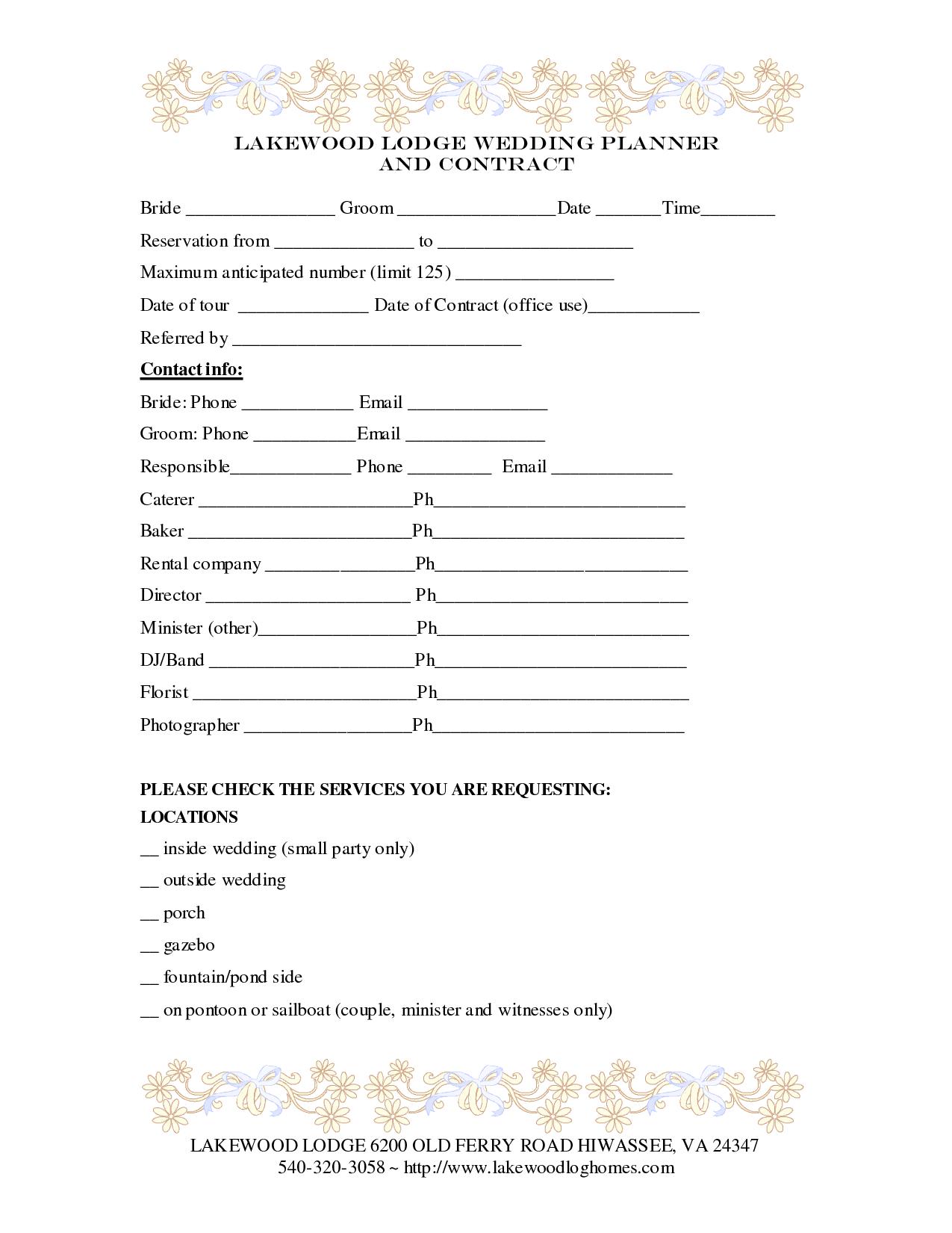 Wedding Planner Contract Template En