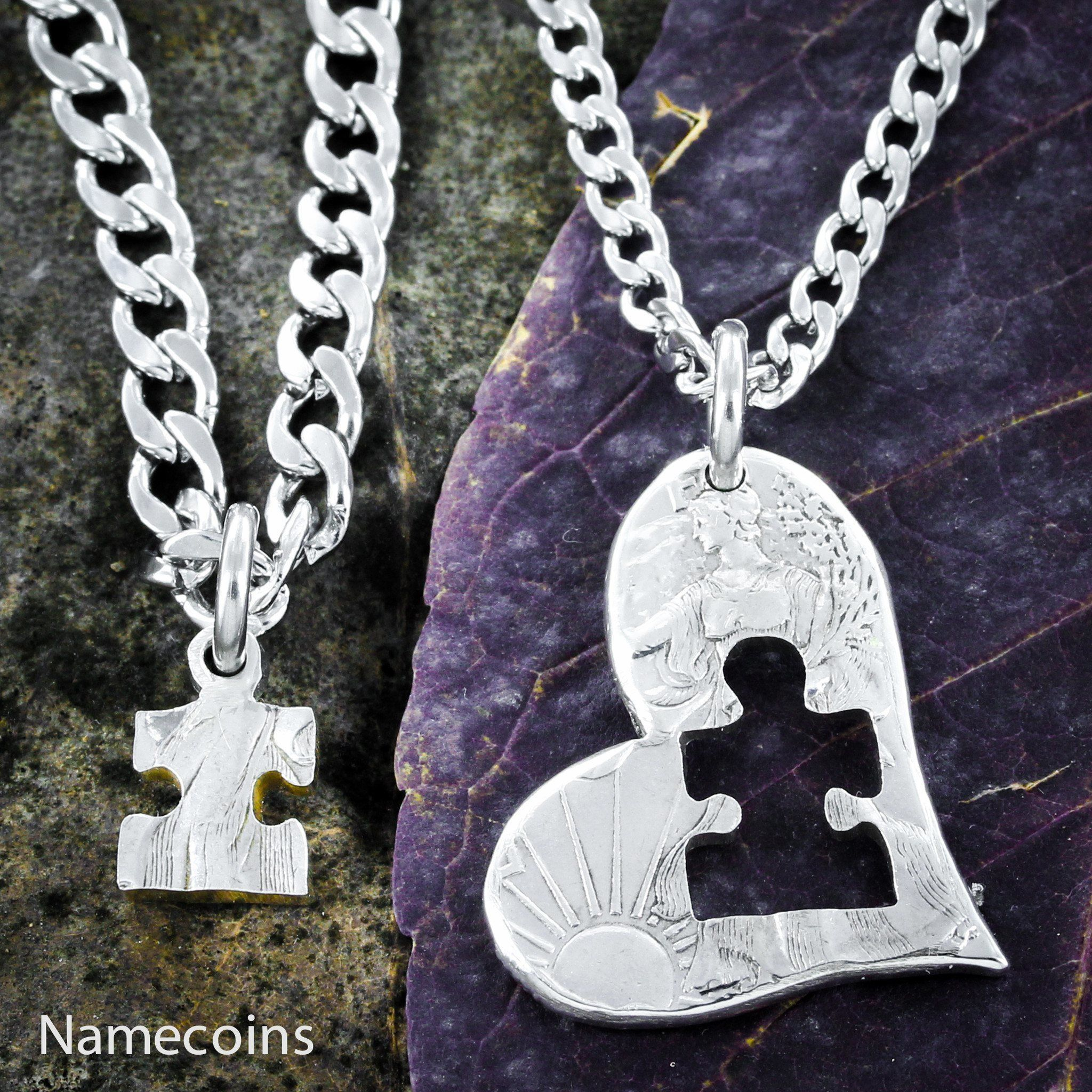 Autism Jewelry, Puzzle Piece and Heart, half dollar - NameCoins